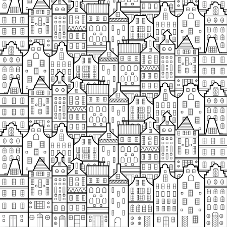 Amsterdam houses style pattern Netherlands black and white Illustration