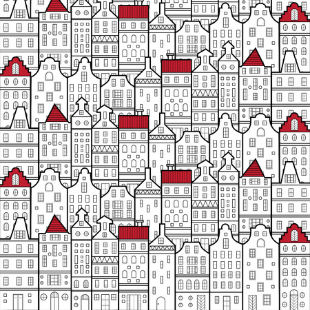 Amsterdam houses style pattern Netherlands black and white and red roof accent