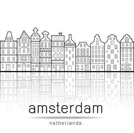 Casas de Amsterdam Holanda estilo con la reflexión en el canal de agua Foto de archivo - 47777950