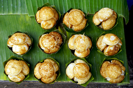 hotcakes: Top view of Sweet and Savory Grilled Coconut-Rice Hotcakes, Coconut Rice Cake, Asian dessert, Thai, Thailand, Luang Prabang, Laos