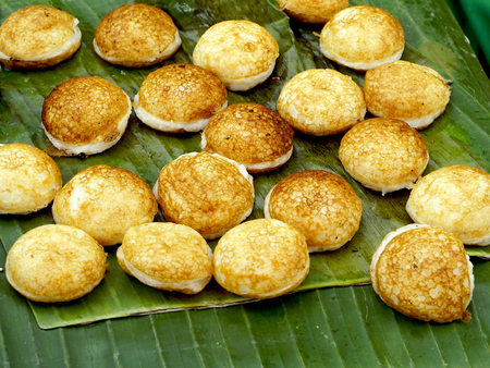 hotcakes: Sweet and Savory Grilled Coconut-Rice Hotcakes, Coconut Rice Cake, Asian dessert, Thai, Thailand, Luang Prabang, Laos