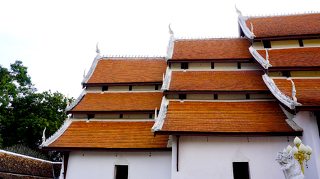 spiritual journey: Layering of Temple roof, Wat Chae Haeng, nan, Thailand Stock Photo