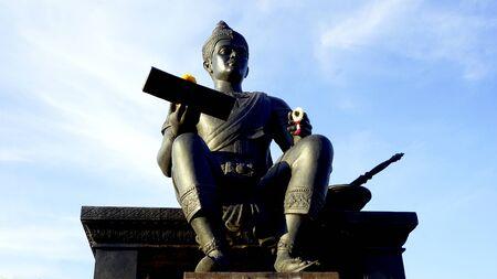 king ramkhamhaeng: king of sukhothai sculpture front view in Historical park