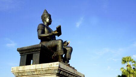 king ramkhamhaeng: king of sukhothai statue side view in Historical park Stock Photo
