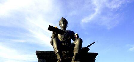king ramkhamhaeng: king of sukhothai monument front view in Historical park