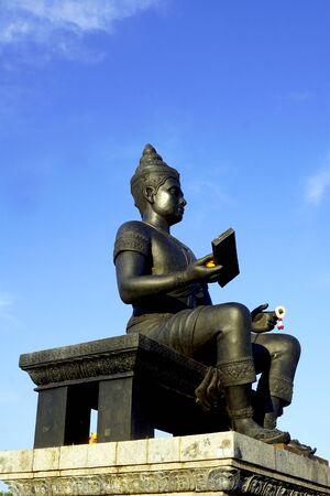 king ramkhamhaeng: king of sukhothai statue side view in Historical park vertical