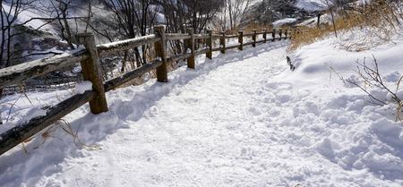 Snow and curved walkway in the forest Noboribetsu onsen snow winter national park in Jigokudani, Hokkaido, Japan