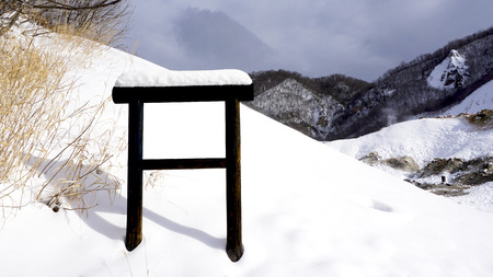 Snow and blank signage in the forest snow winter national park, Hokkaido, Japan Stok Fotoğraf