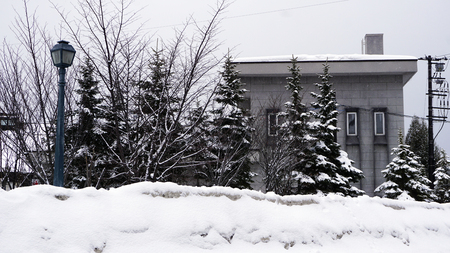 House in old town city architecture snow winter, Hokkaido, Japan Stok Fotoğraf