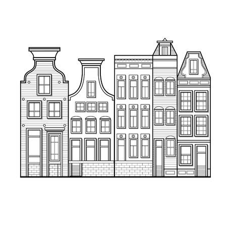 Amsterdam huizen stijl Nederland zwart-wit