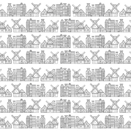Amsterdam houses, windmill and city style pattern Netherlands
