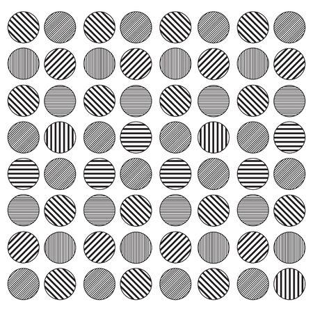 Geometric circle seamless pattern background monochrome black and white Çizim