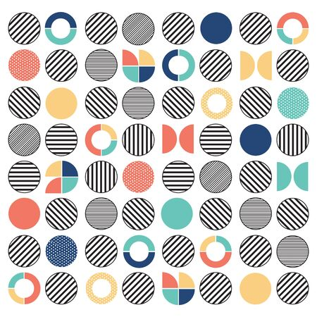 Geometric colorful mixed circle seamless pattern background with monochrome black and white