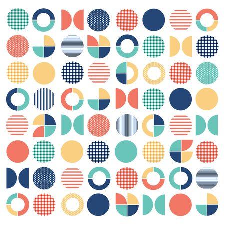 Geometric colorful mixed circle seamless pattern background Çizim