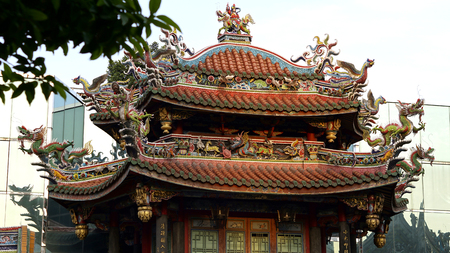 chinese art achitecture longshan temple roof in Taipei, Taiwan