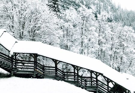 The bridge at old salt mine of Hallstatt Winter snow mountain landscape the pine forest in snowy day, Austria