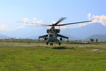 piloting: Military helicopter Mi-24 Stock Photo