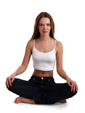 tanktop: isolated nice woman on jeans and white tanktop Stock Photo