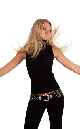 white nice young woman in black on a wihite background photo