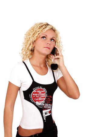 nice young blond woman with mobile phone photo