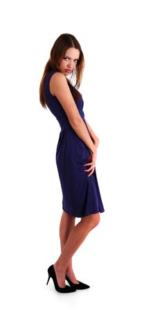chatoyant: white nice young woman in blue dress on a wihite background