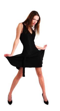 white nice young woman in black dress on a wihite background photo