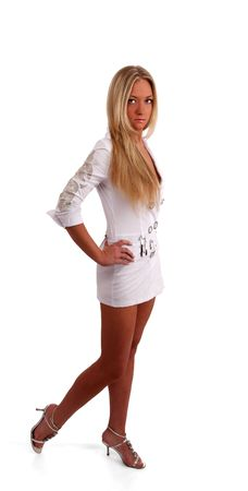 chatoyant: white nice young woman in dress on a wihite background