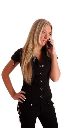 chatoyant: white nice young woman in black on a wihite background