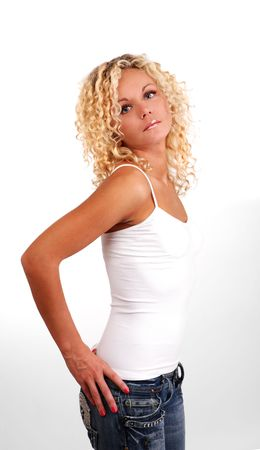 girl undressing: isolated on white background young woman on tank top