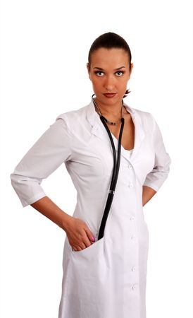 woman therapeutics doctor with stethoscope on white background photo