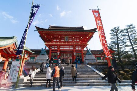 Two-stored gate building at Fushimi-Inari Shrine ( sacred place) in Kyoto, Japan.