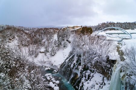 Breathtaking view of Shirahige Waterfalls in winter. Also known as the