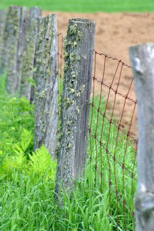 post: Old wood beam post in farm field Stock Photo