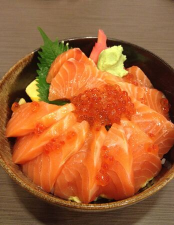 Fresh salmon and fishs roe with rice