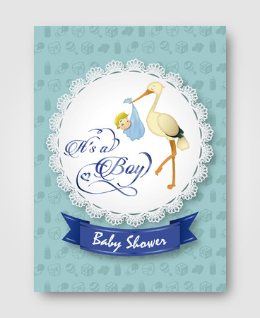 baby shower card with illustration of baby cork with children's decoration