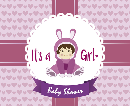 baby shower card for children with childrens decoration in pink and violet range