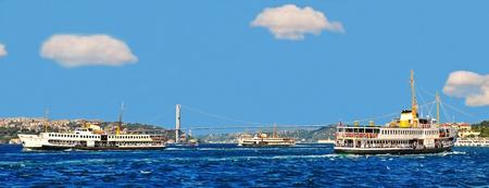 Pasanger boats at Bosphorus Stock Photo