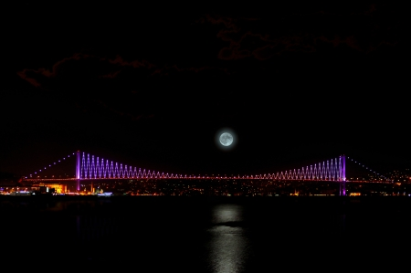 istanbul night: Bosphorus Bridge at night in Istanbul,Turkey  Stock Photo