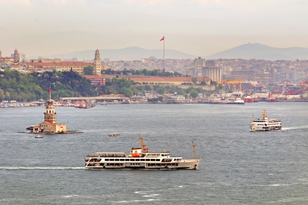 constantinople: Maiden s Tower  Leander s Tower  and ships in Istanbul, Turkey  Stock Photo