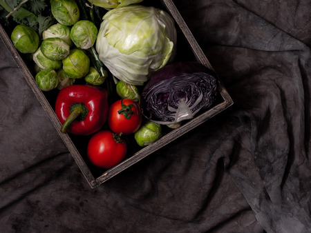 mixed of vegetable in the tray with dark background