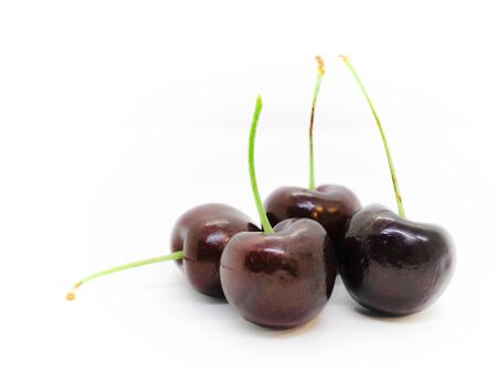 Isolated group of cheery fruit on white background