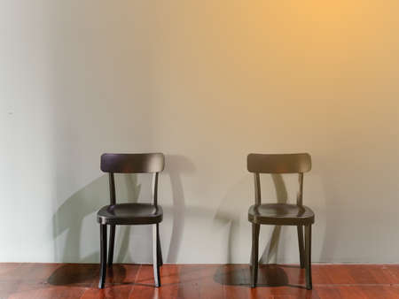2 chairs set up by keep distancing follow new normal concept