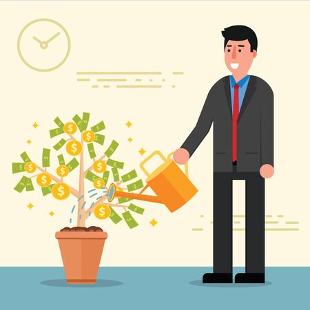 broker: Successful young businessman or broker watering money tree. Cartoon vector illustration of manager or boss as concept of financial growth and investment. Male entrepreneur Illustration
