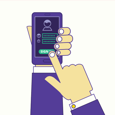 Social media or internet site sign in via smartphone. Login and password identification illustration. Hands holding cell phone with authorization webpage opened.