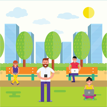 woman using laptop: Various people using gadgets with wireless internet outdoor. Man and woman with smartphone or cell phone, laptop, tablet in park as online communication concept. Vector illustration Illustration
