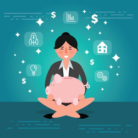 Successful young businesswoman or broker meditating or relaxing with his legs crossed and holding piggy bank. Cartoon vector illustration of manager or boss as concept of financial success. Business lady image
