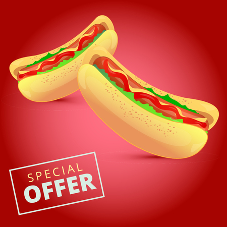 hotdogs: Tasty hot dog with mustard, ketchup sauce, grilled sausage, salad and buns. Fast food hotdogs vector illustration. Illustration