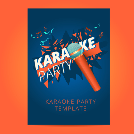 Karaoke party flyer with microphone and orange particles on a blue background Vectores