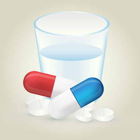 dosage: Red and blue pills or capsules and white tablets with full glass of water. Medication or drug dosage vector illustration isolated on background