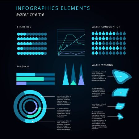 water theme: Infographics elements set water theme in blue color on dark background Illustration